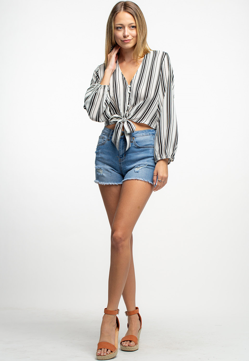 Front Tie & Tie Long Sleeve Blouse