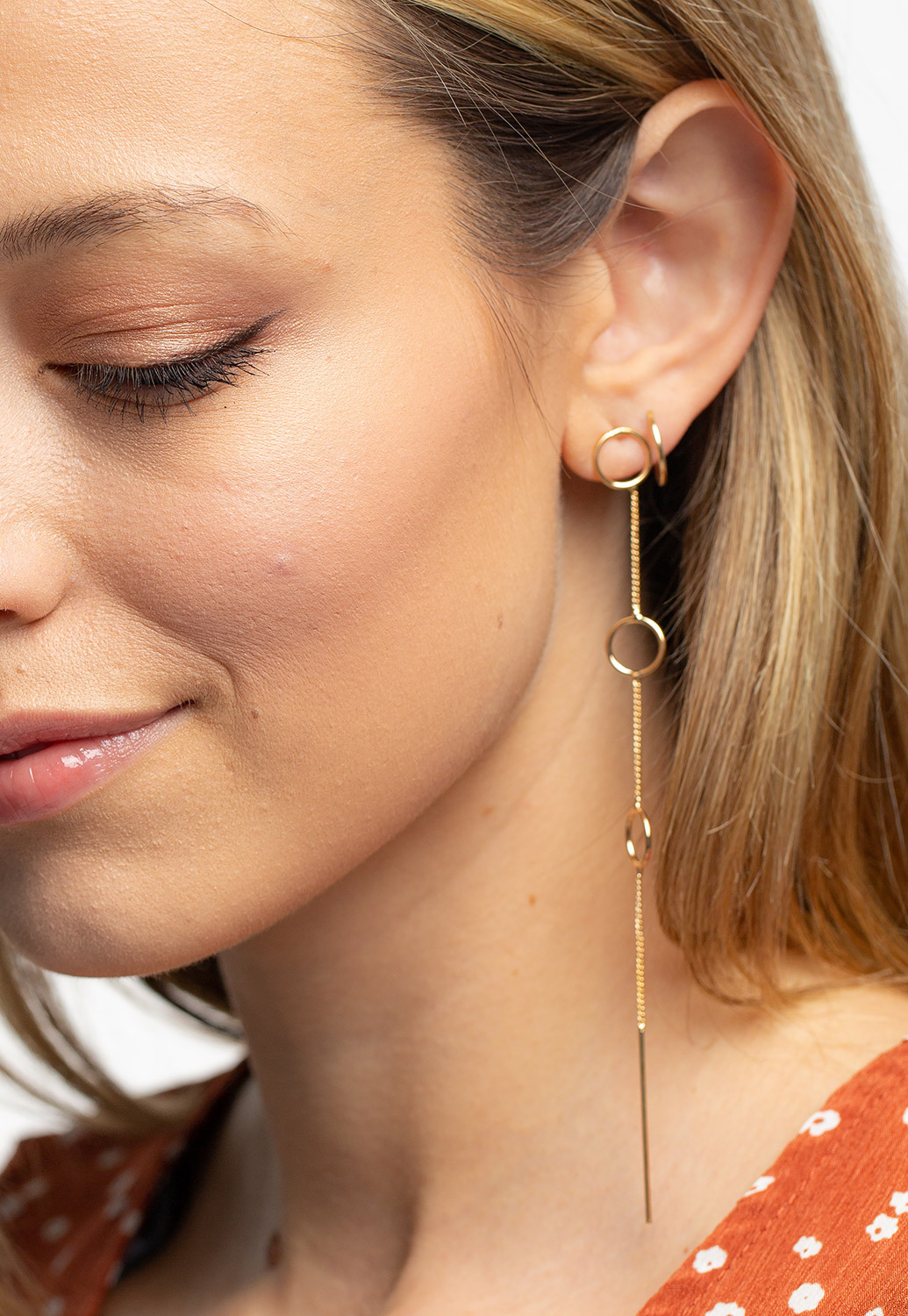 Open Ring Linear Drop Earrings