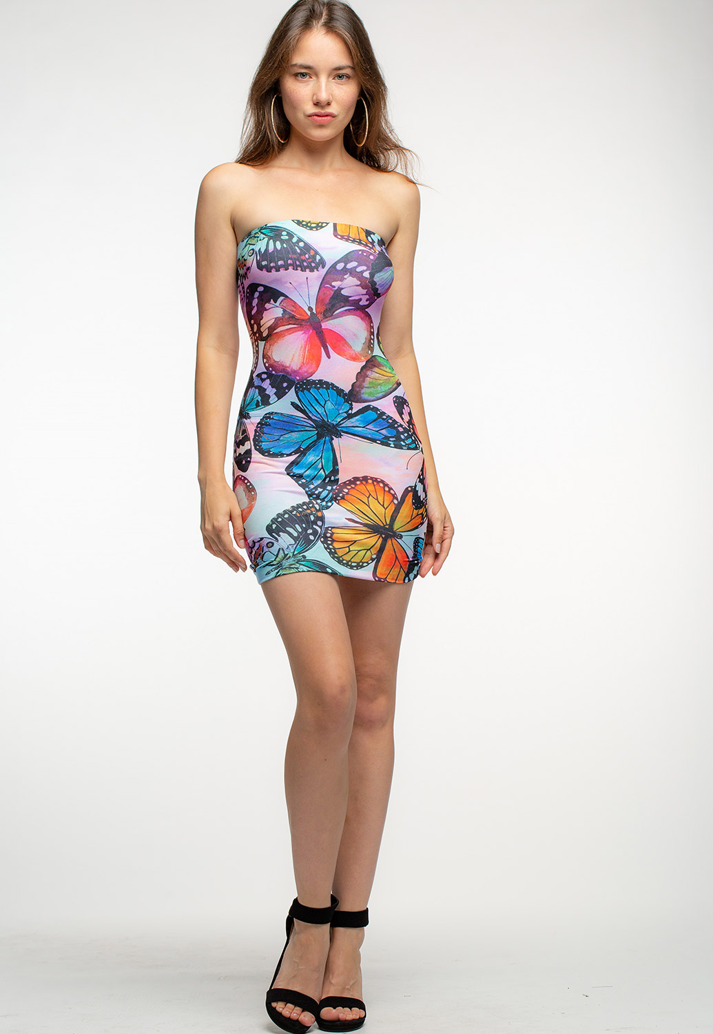 Sleeveless Butterfly Printed Bodycon Mini Dress