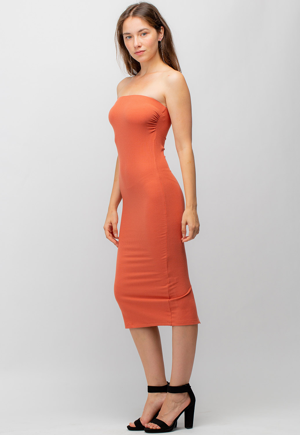 Solid Bodycon Midi Tube Top Dress