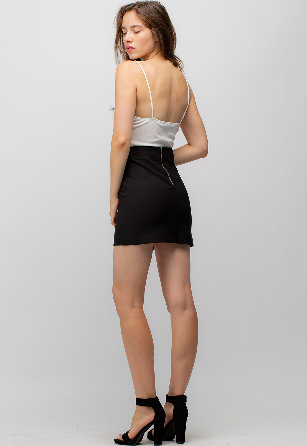 Black Stretchy Mini Skirt With Zipper Back