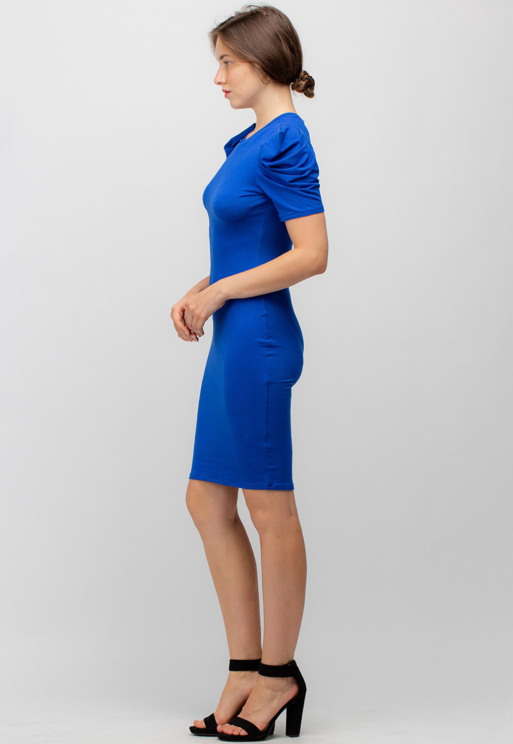 Puff Sleeve Solid Bodycon Dress