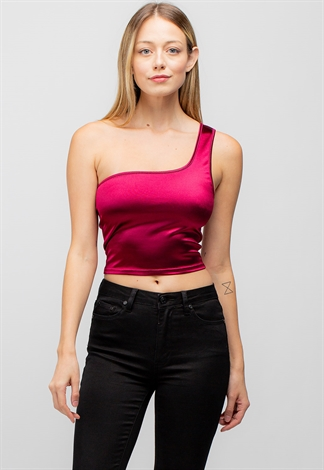 One Shoulder Sleeveless Crop Top