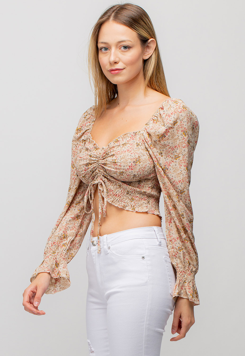 Ruched Floral Blouse