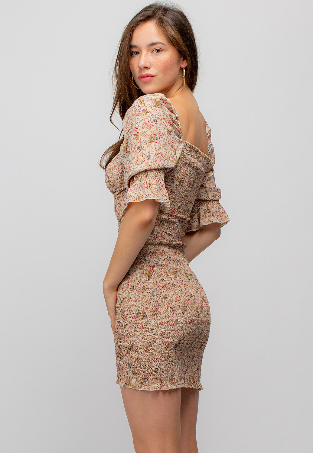 Ruched Front Drawstring Floral Dress