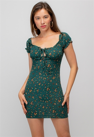 Frill Trim Tie Front Floral Dress