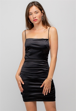 Ruched Mini Dress With Cross Tie Back