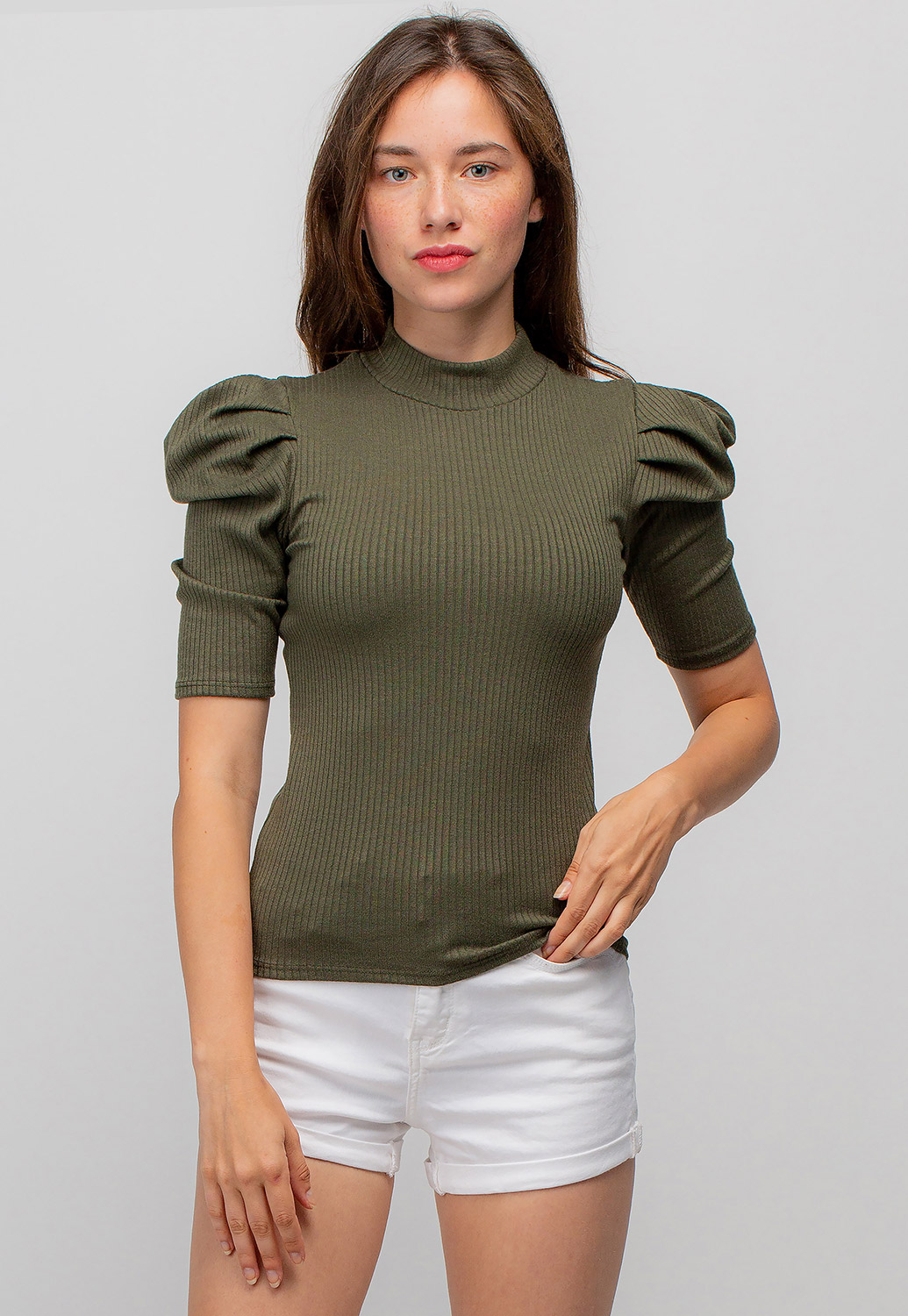 High Neck Puff Sleeve Top