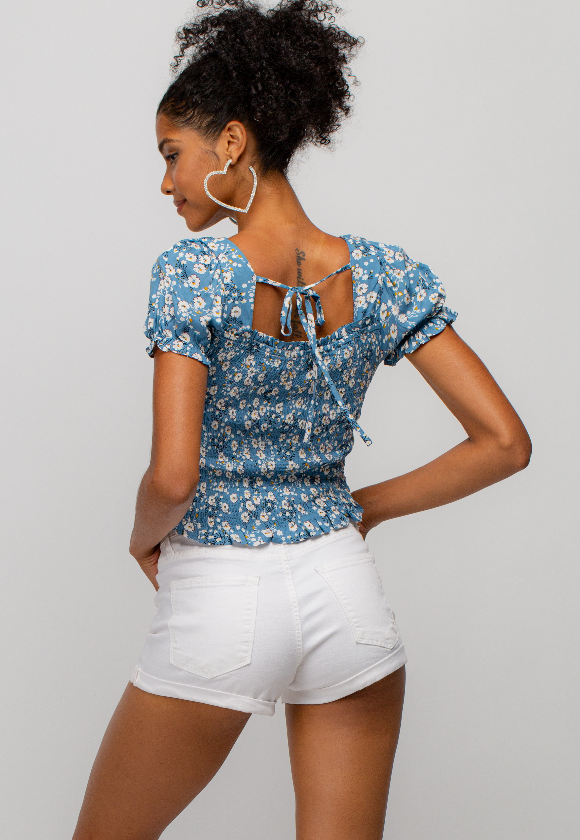 Frill Trim Tie-Back Floral Top