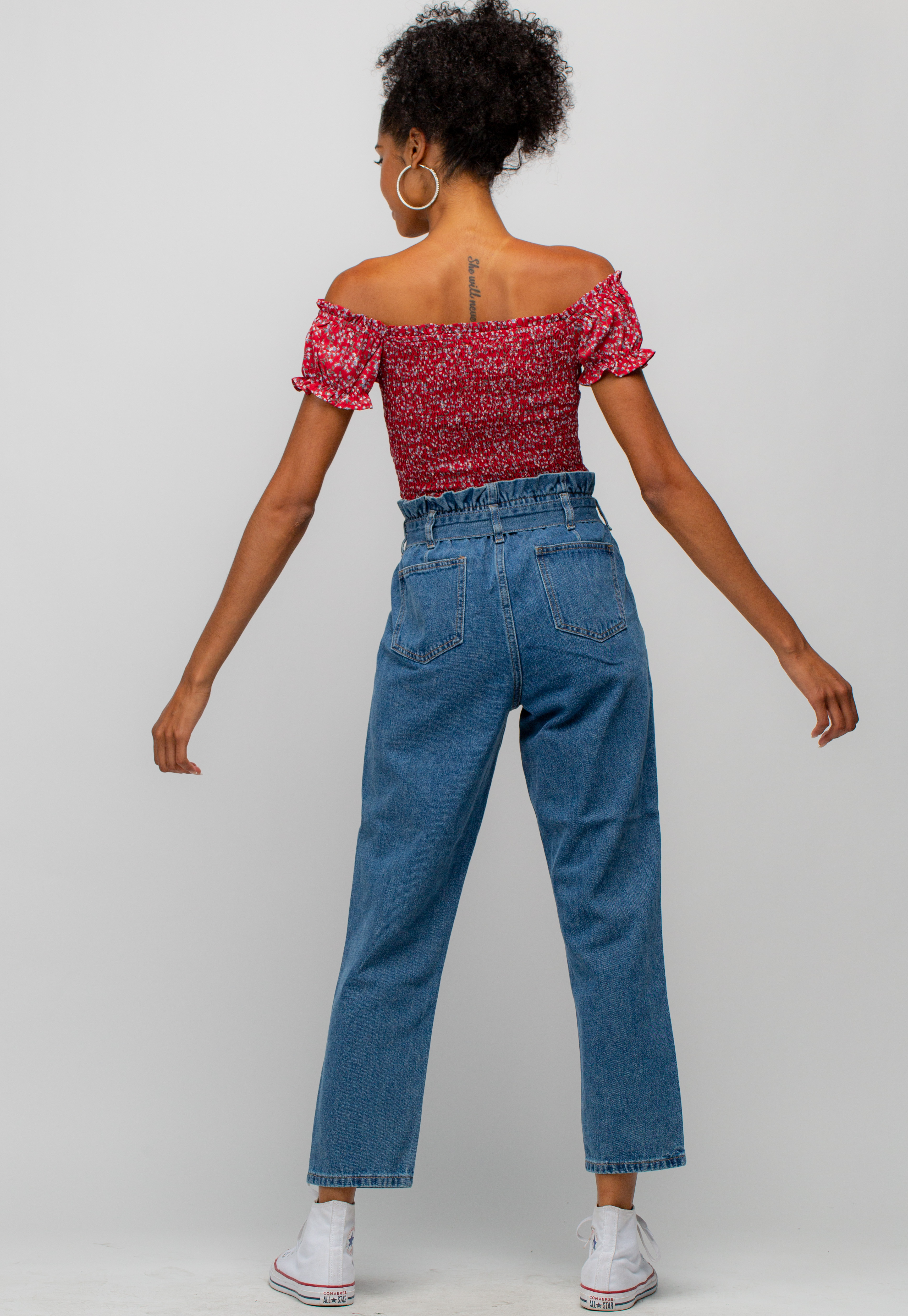 Paperbag Waist Wide Denim Pants