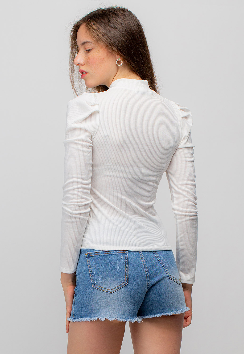 High Neck Puff Long Sleeve Top