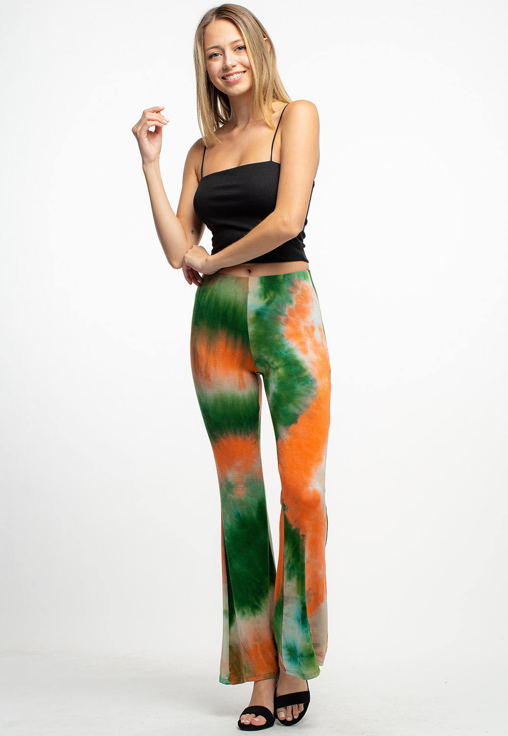Tie-Dye Strappy Crop Top And Pants Set