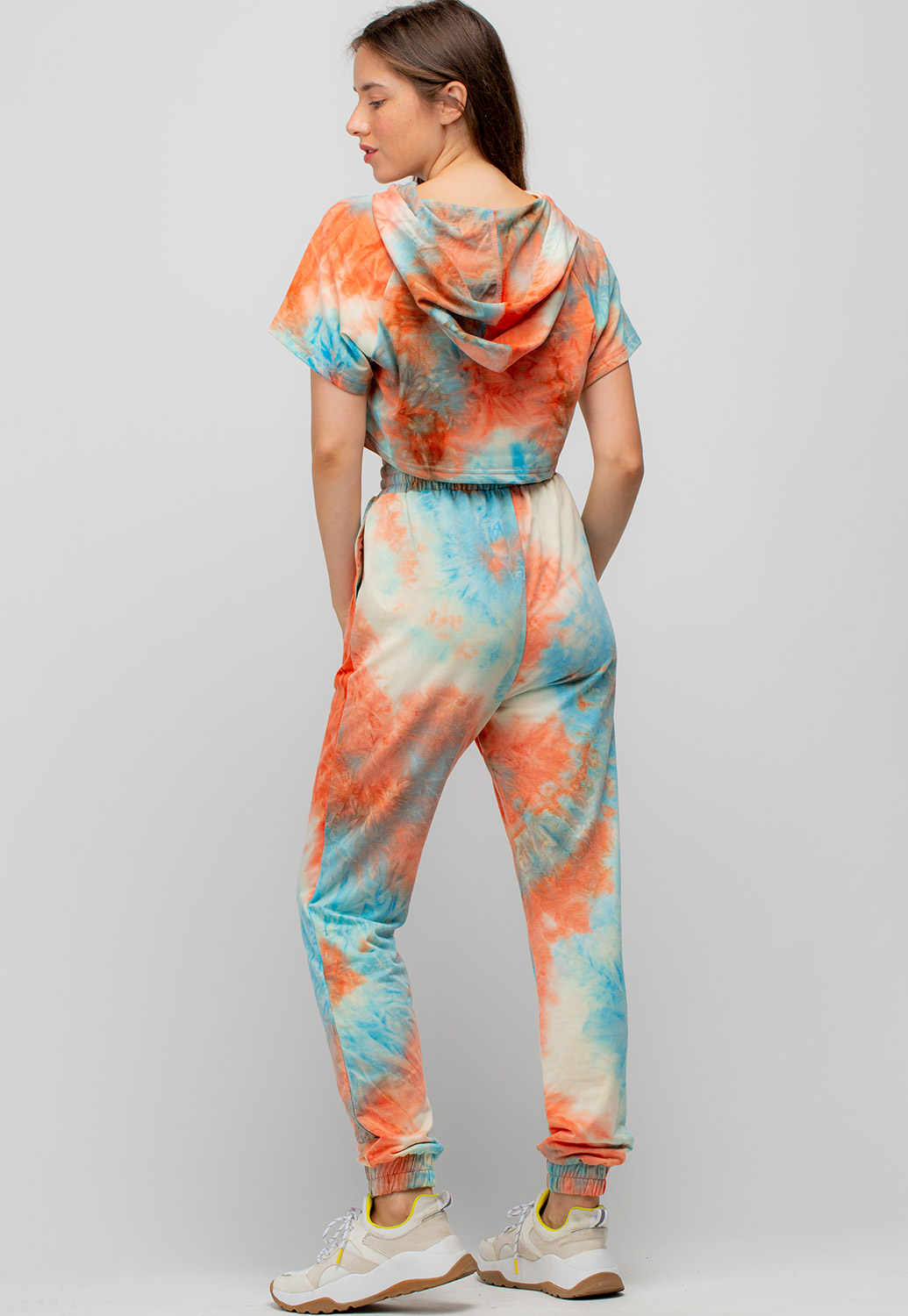 Tie Dye Cropped Hoodie And Jogger Pants Set
