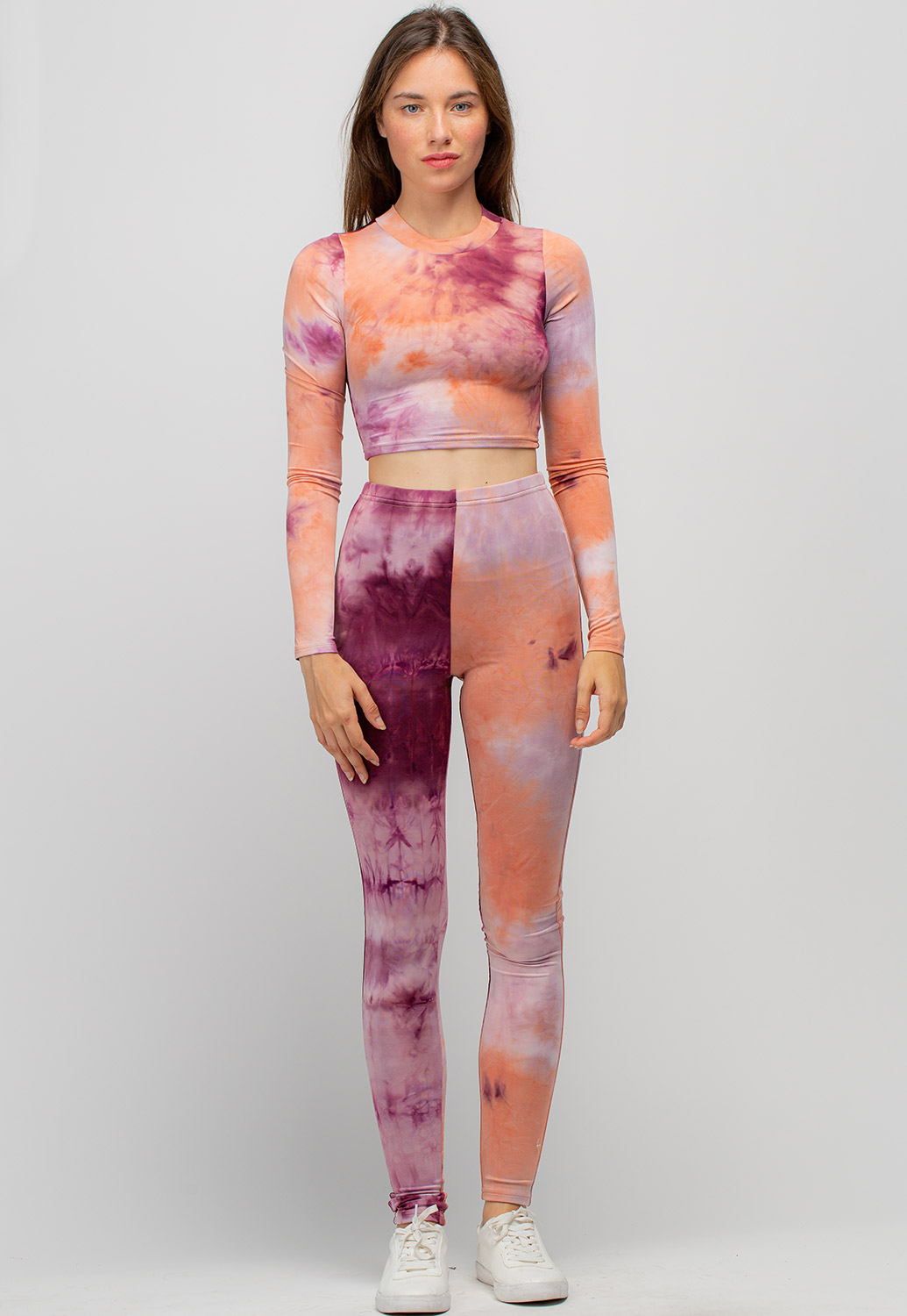 Tie Dye Cropped Top And Leggings Set