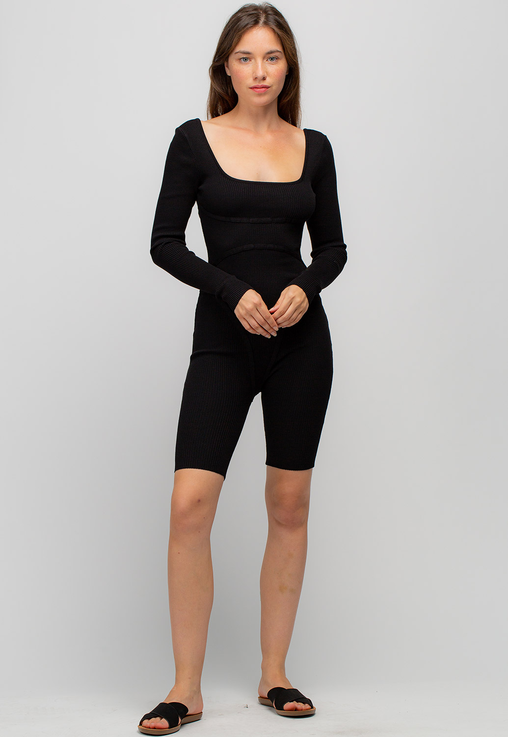 Scoop Neck Ribbed Fitted Romper