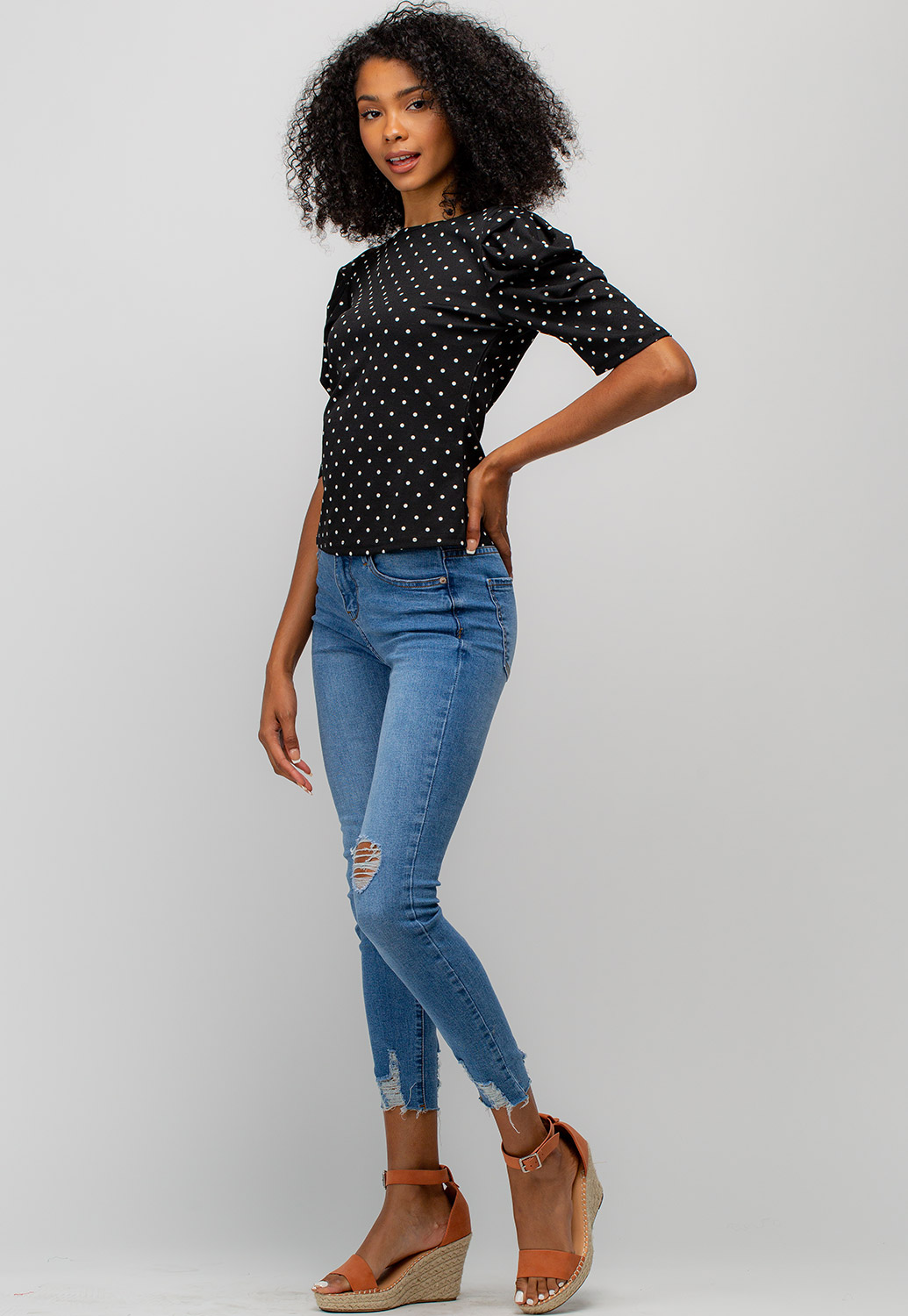Polka Dot Puff Sleeve Top