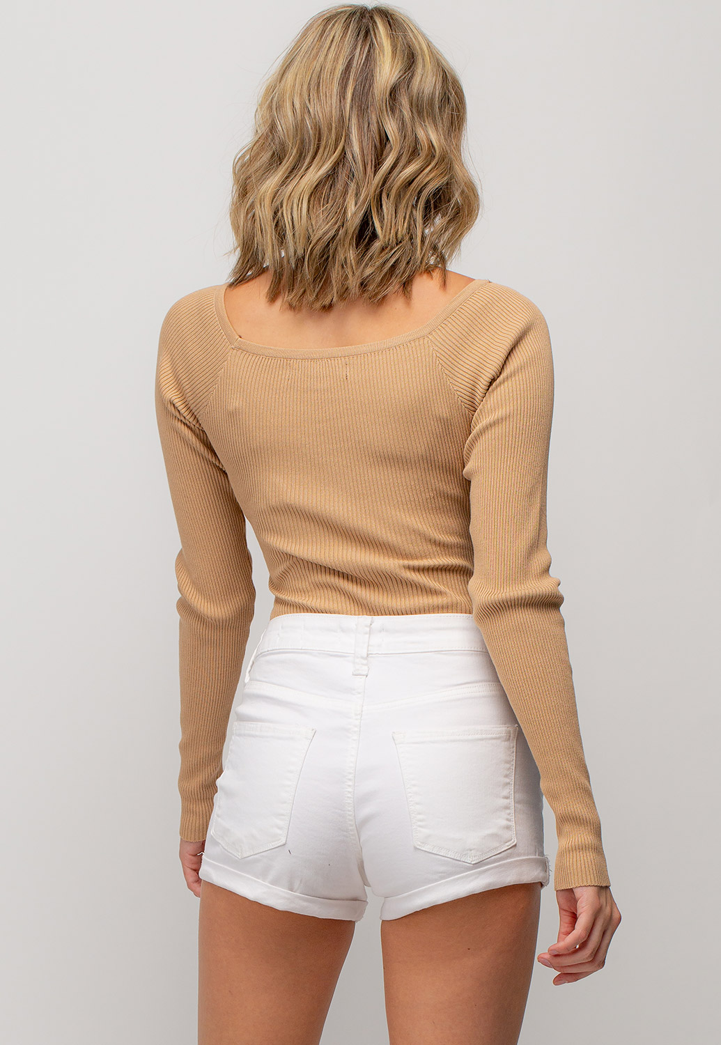 Long Sleeve V-Neck Ribbed Bodysuit With Buttons