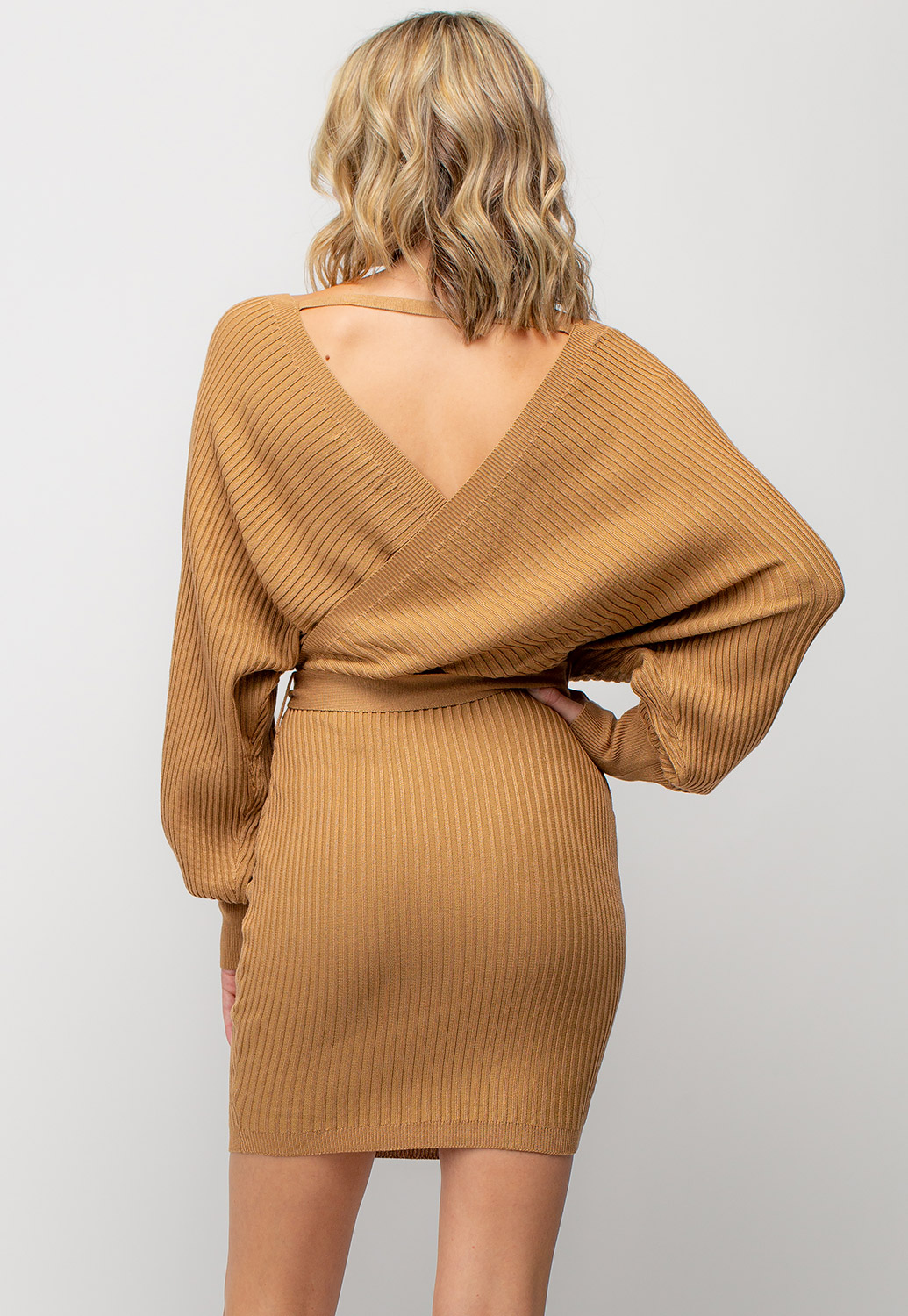 Deep V-Neck Waist Tie Ribbed Knit Dress