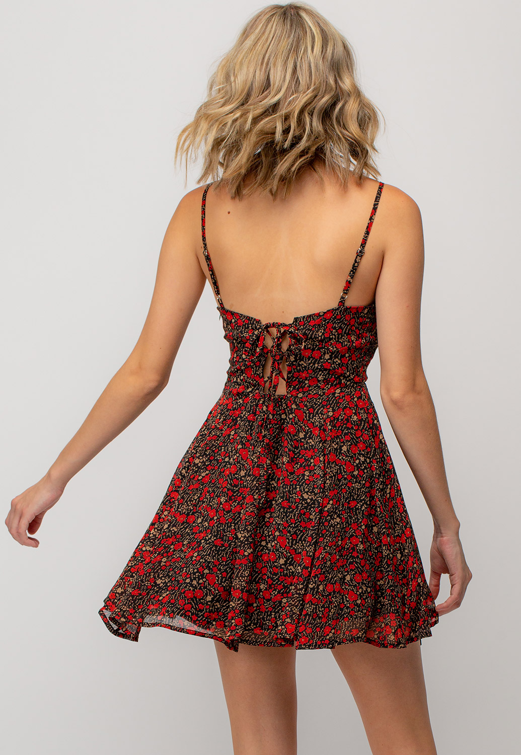 Floral Printed Strappy Mini Dress With Tie Back