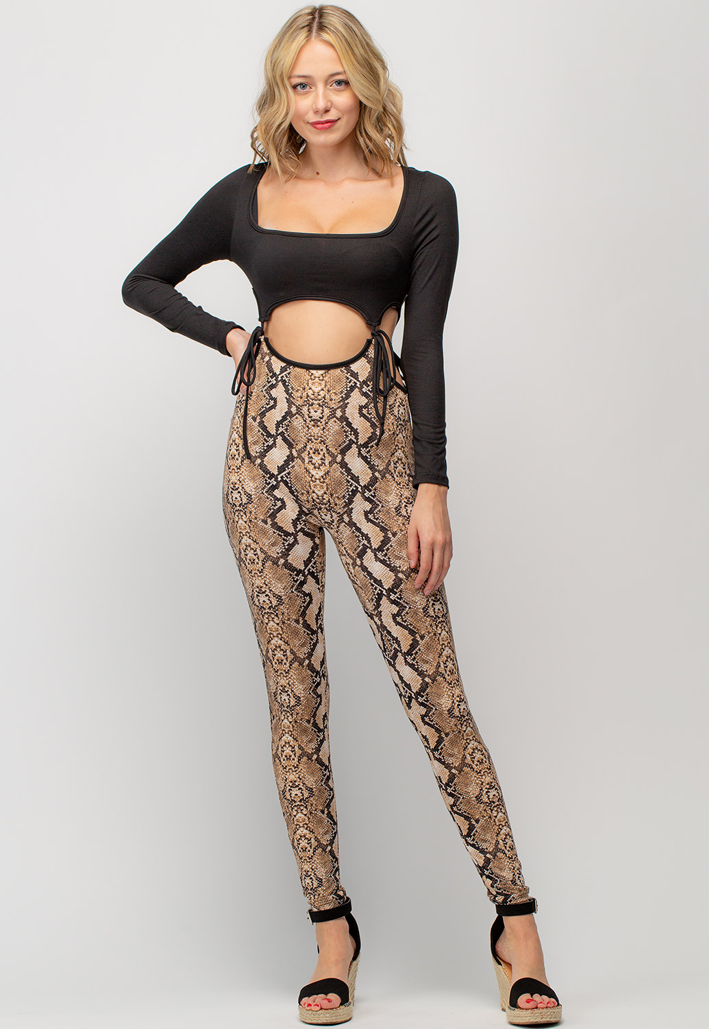 Animal Printed Two Piece Jumpsuit Set