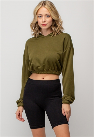Basic Adjustable Cropped Hoodie