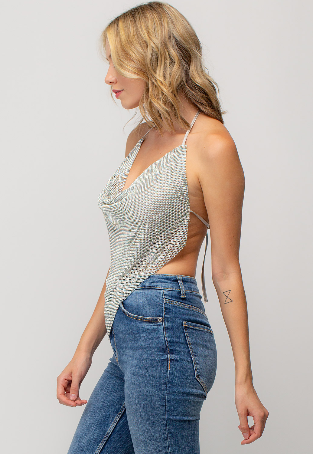 Halter V-Neck Mesh Top With Open Tie Back