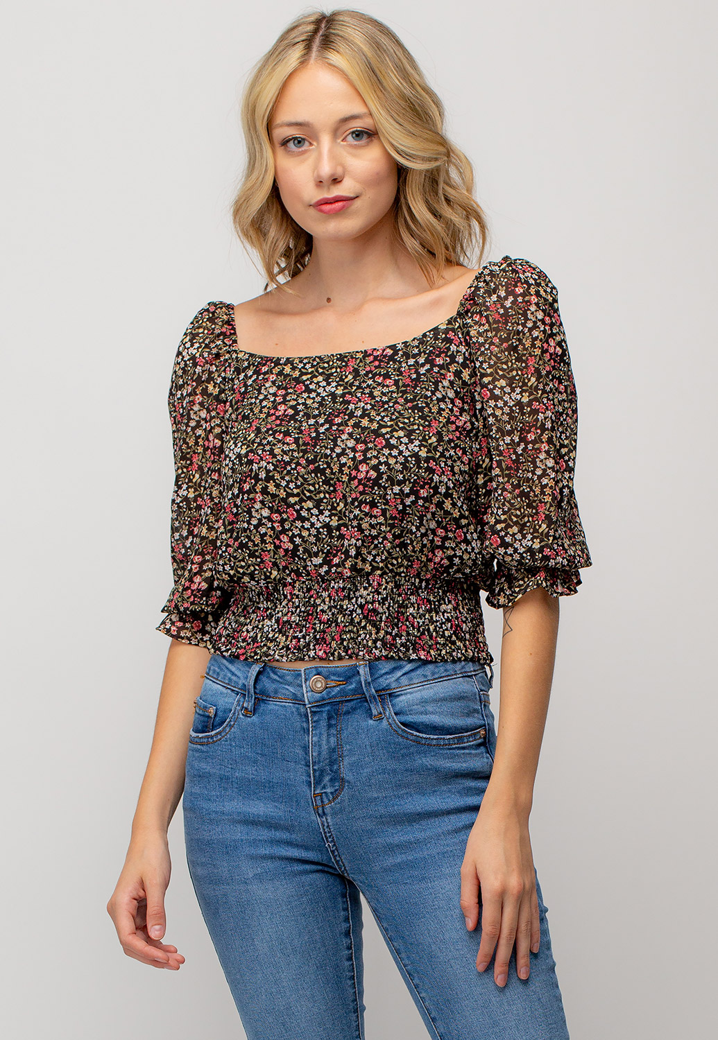 Square Neck Floral Smocked Top With Tie Back