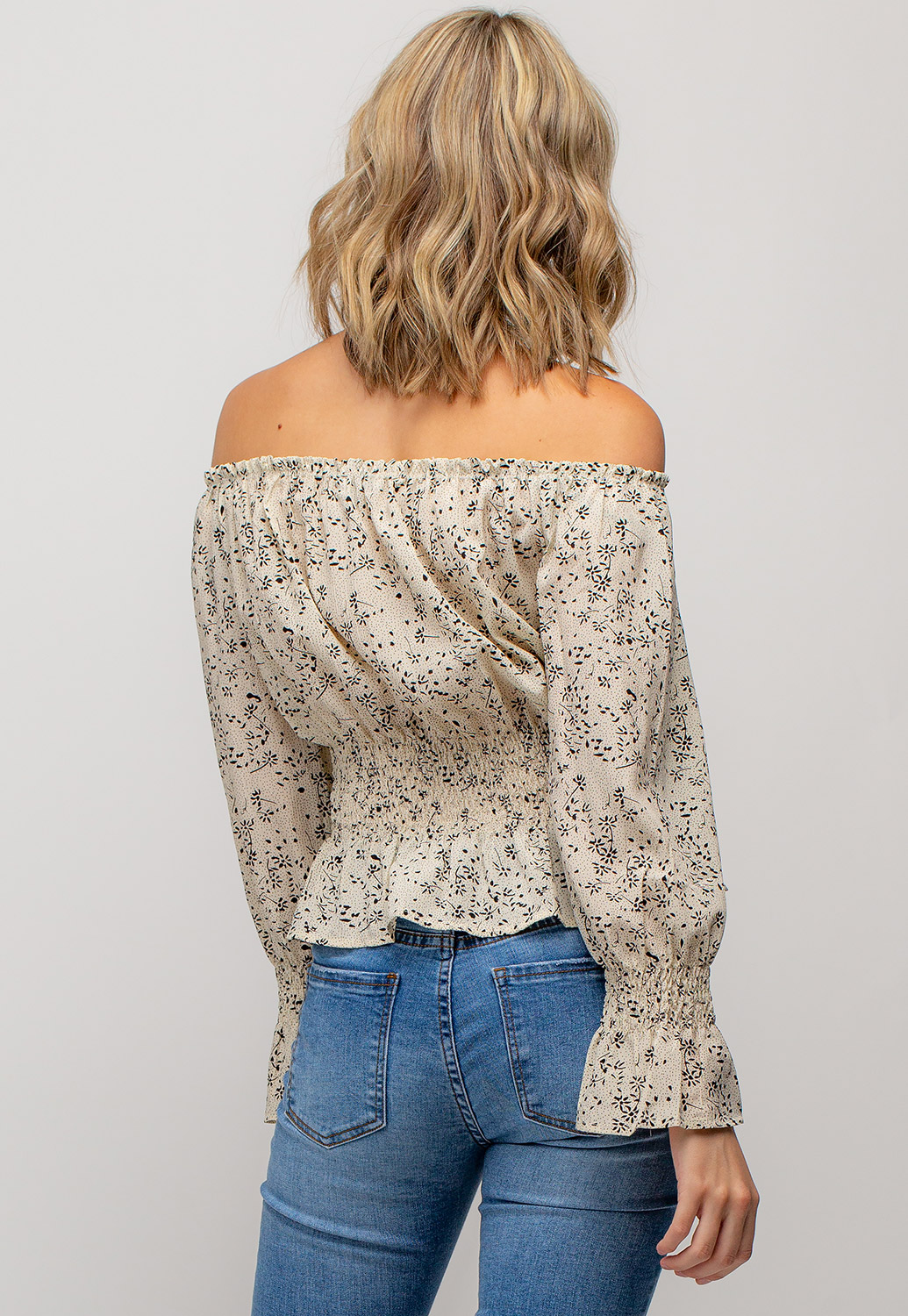 Off The Shoulder Floral Printed Blouse Top