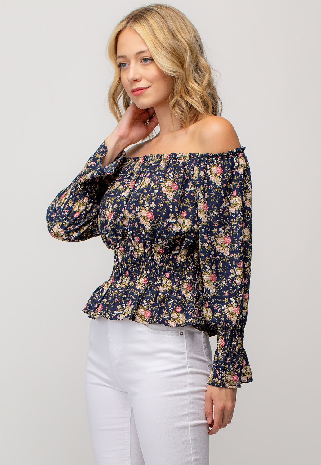 Floral Off The Shoulder Smocked Top