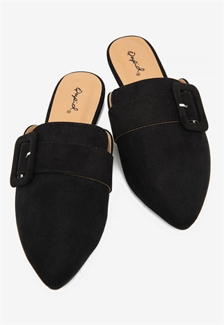 Suede Pointed Toe Buckled Detailed Slides