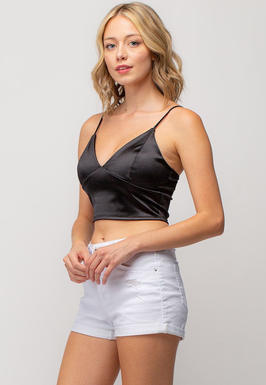 Deep V-Neck Strappy Cropped Top