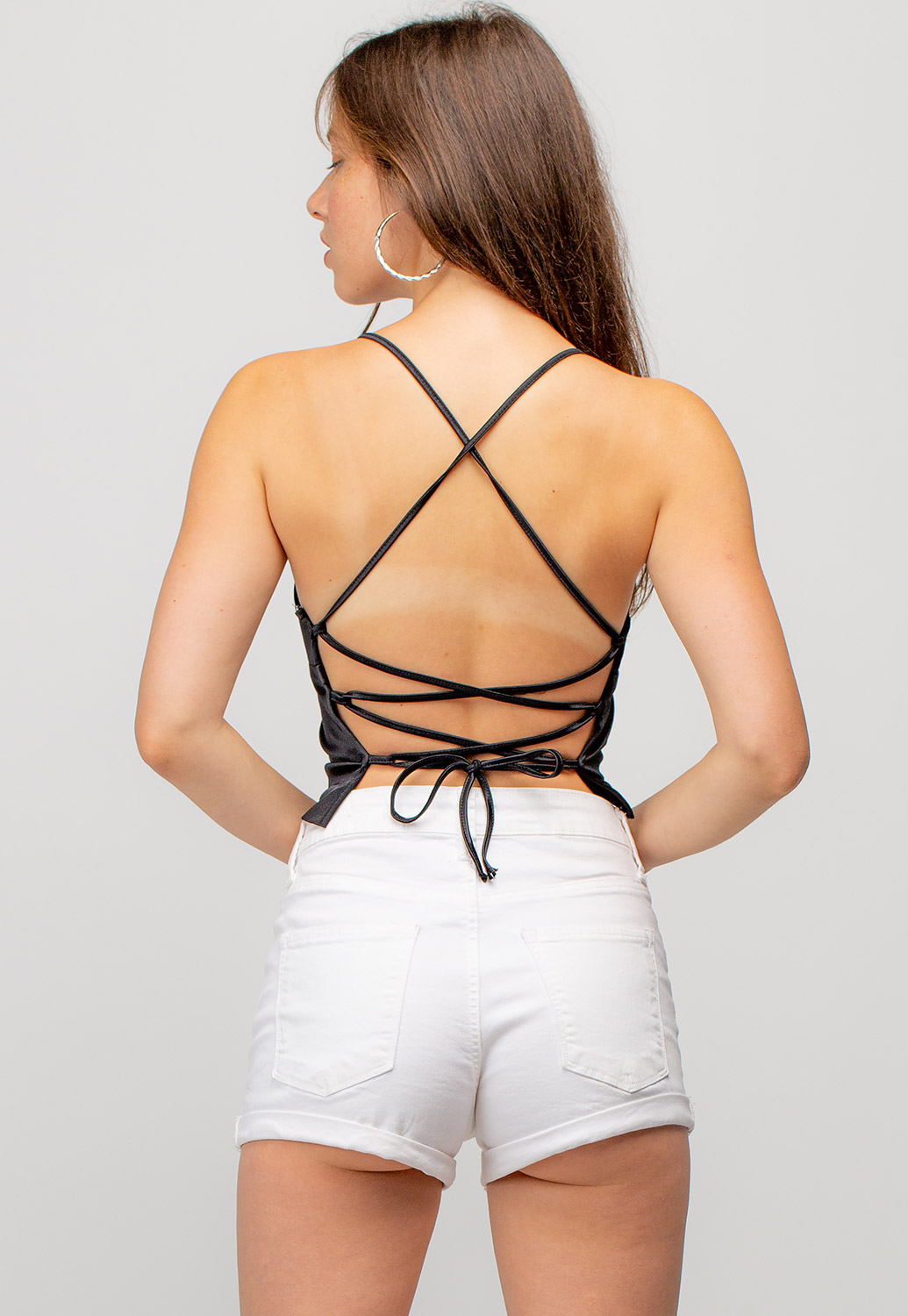 Strappy Cropped Top With Open Tie Back