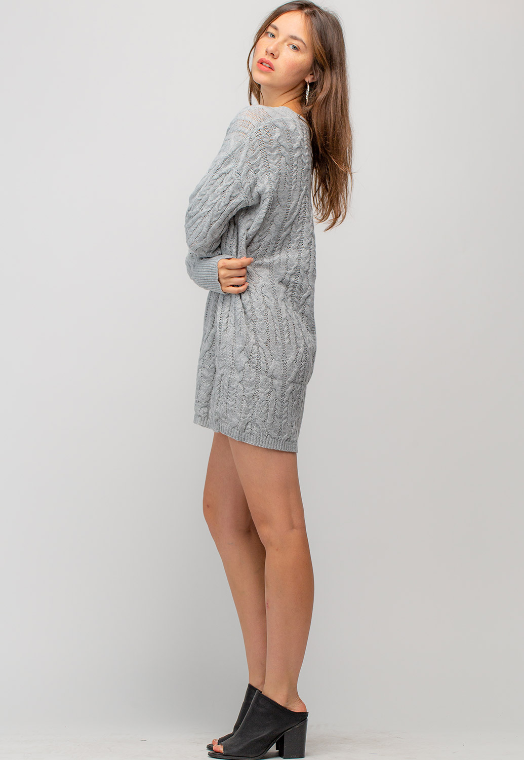 V-Neck Sweater Mini Dress