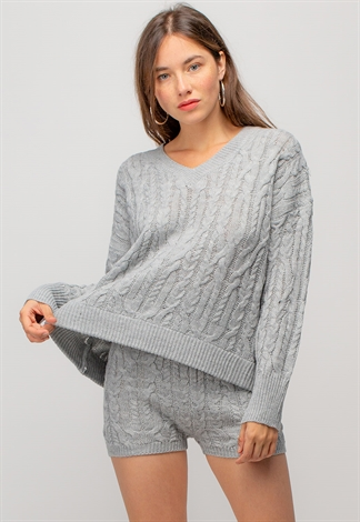 Cozy V-Neck Long Sleeve Sweater & Short Set