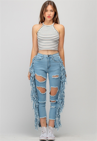 Distressed Fringe Detailed Denim