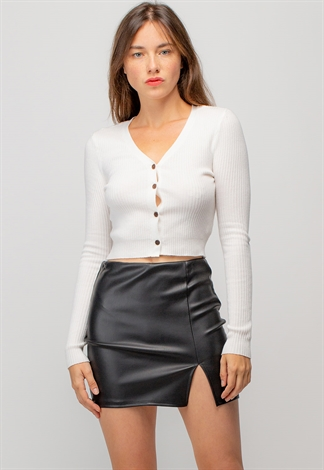 Faux Leather Mini Skirt With Front Slit