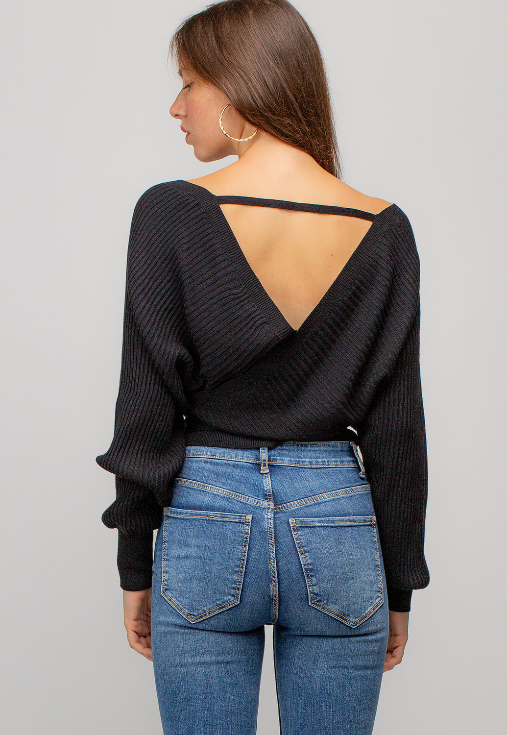V-Neck Long Sleeve Ribbed Crop Sweater Top