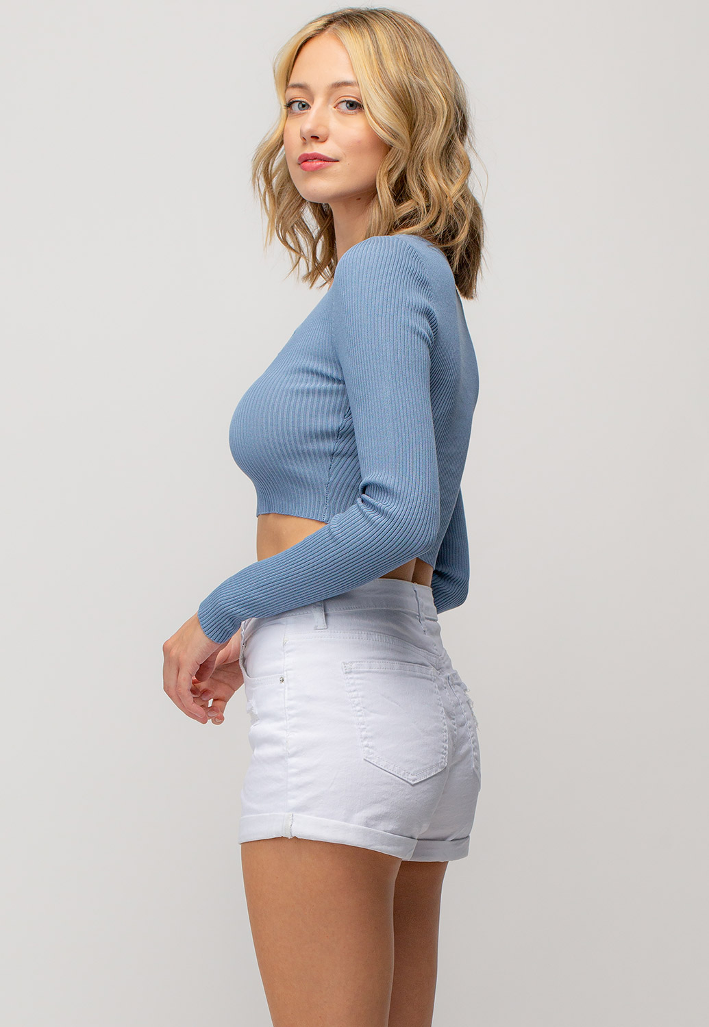 Long Sleeved Button Detailed Crop Top