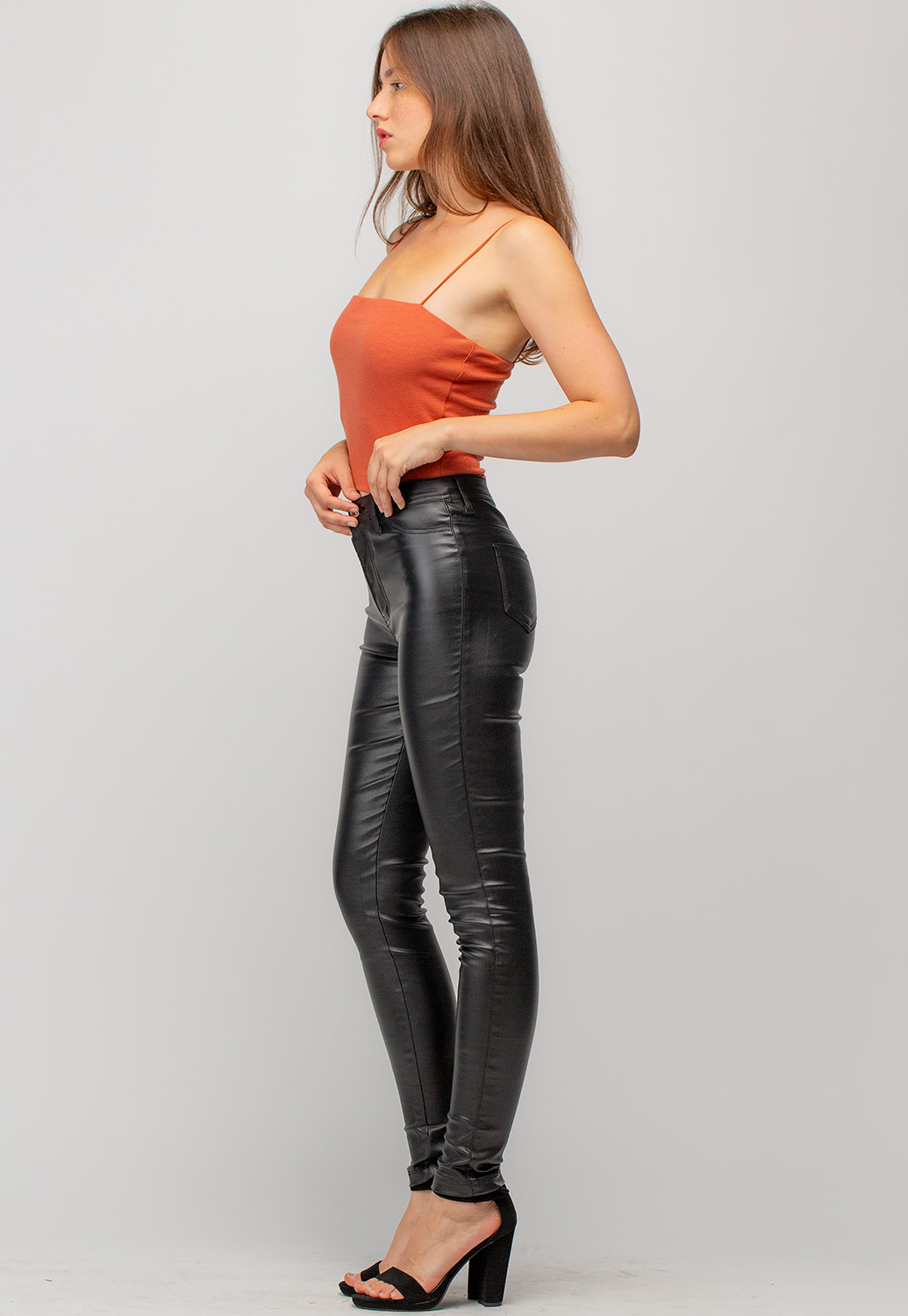 Faux Leather Long Skinny Pants