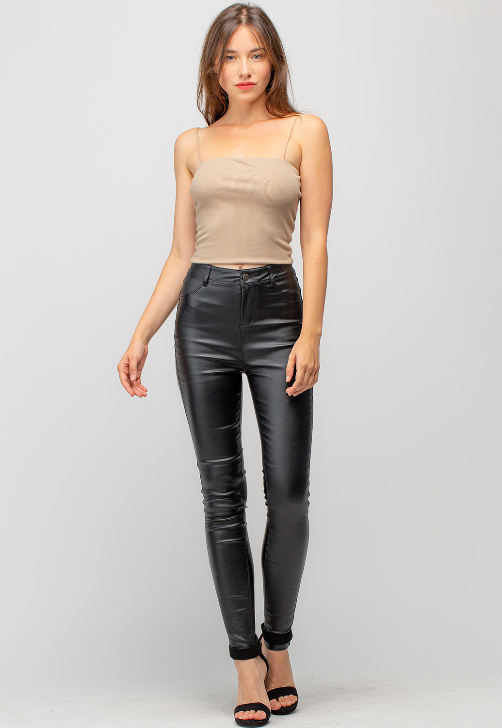 Mid Rise Faux Leather Long Skinny Pants