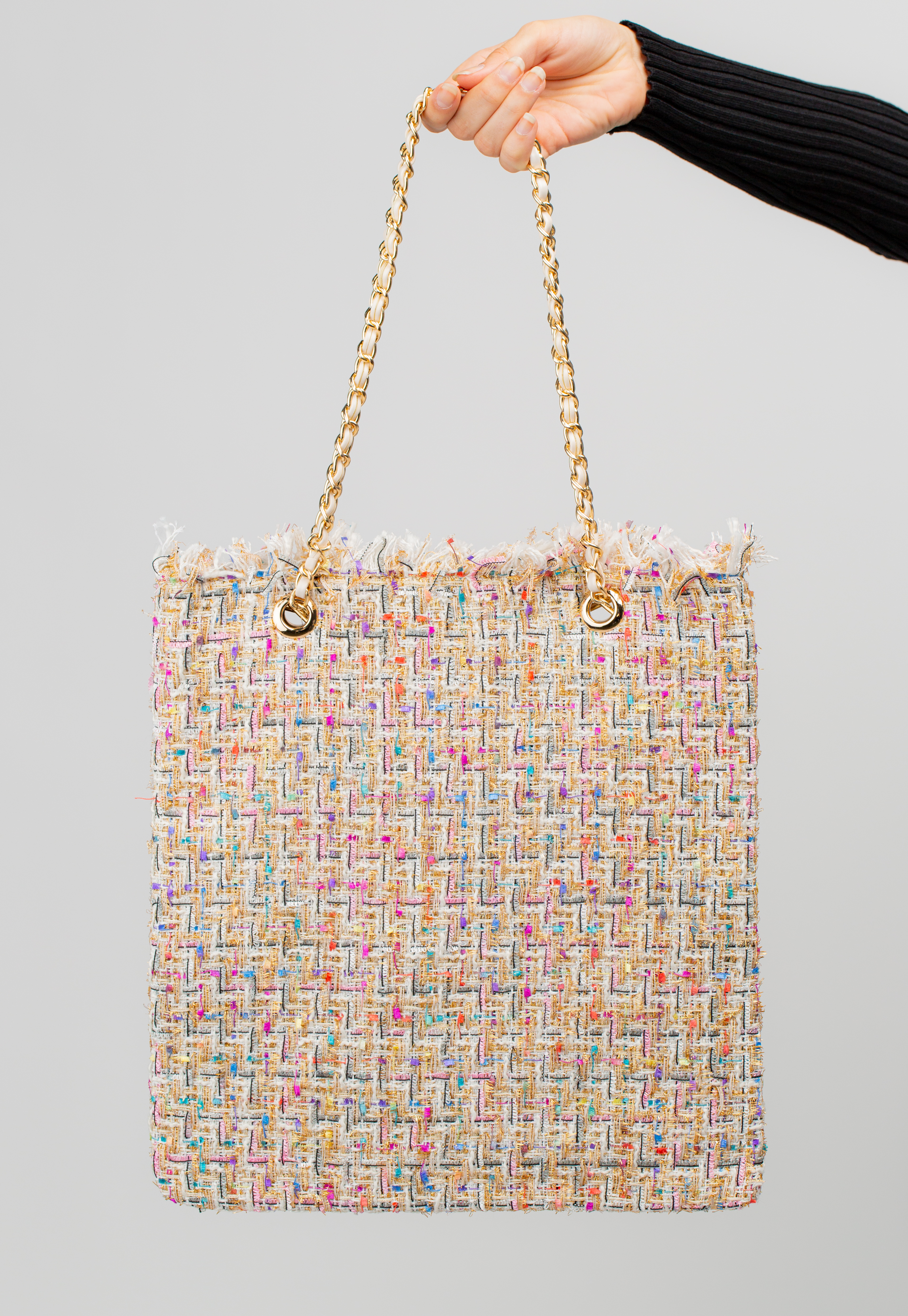 Multi Tweed Tote Bag