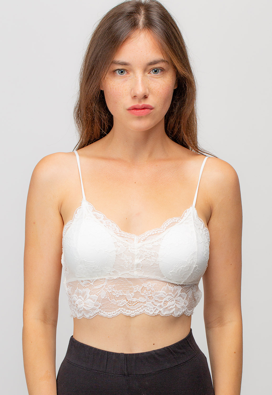 Floral Lace Strappy Bralettes With Cross Back