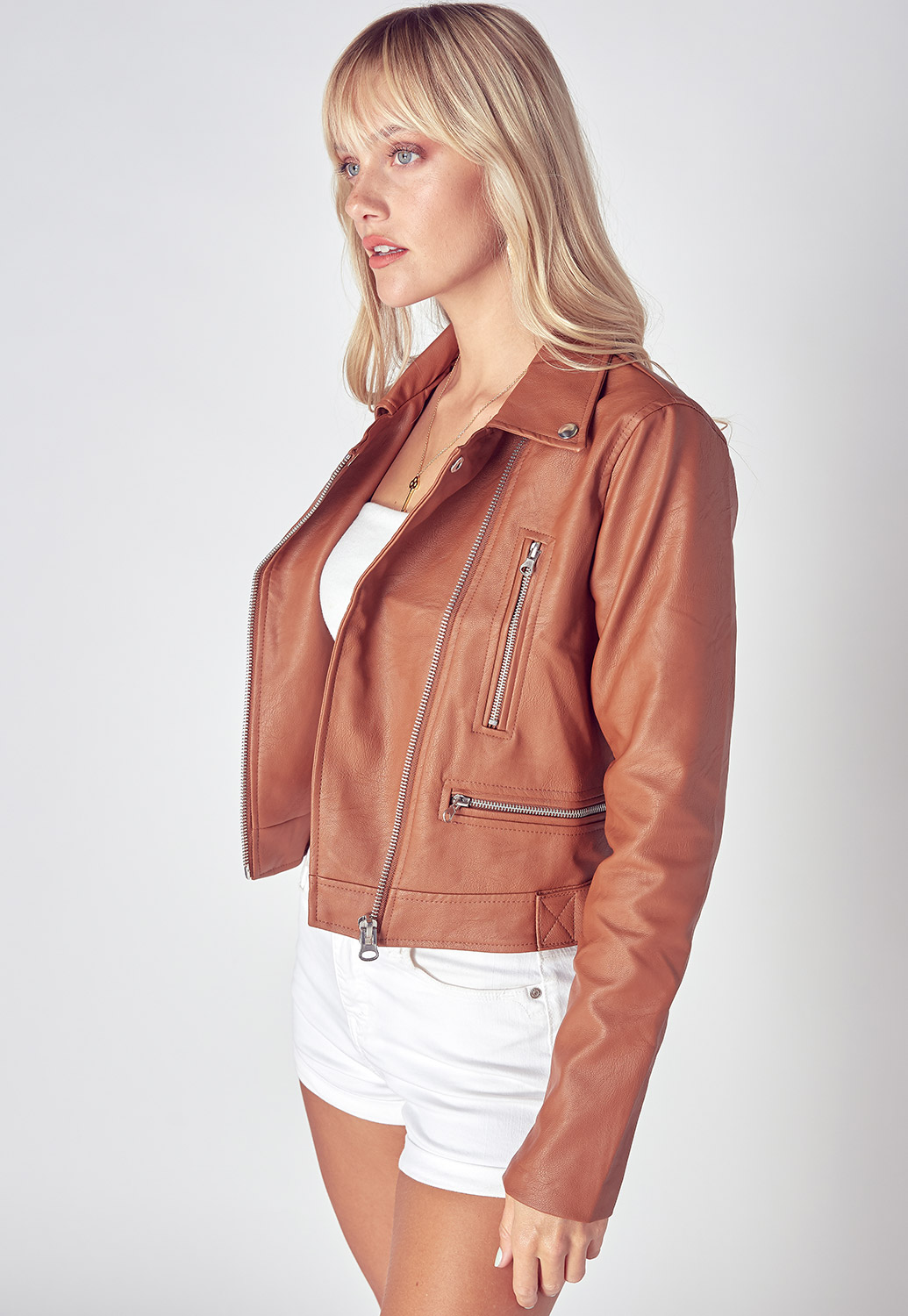 Faux Leather Textured Short Moto Jacket