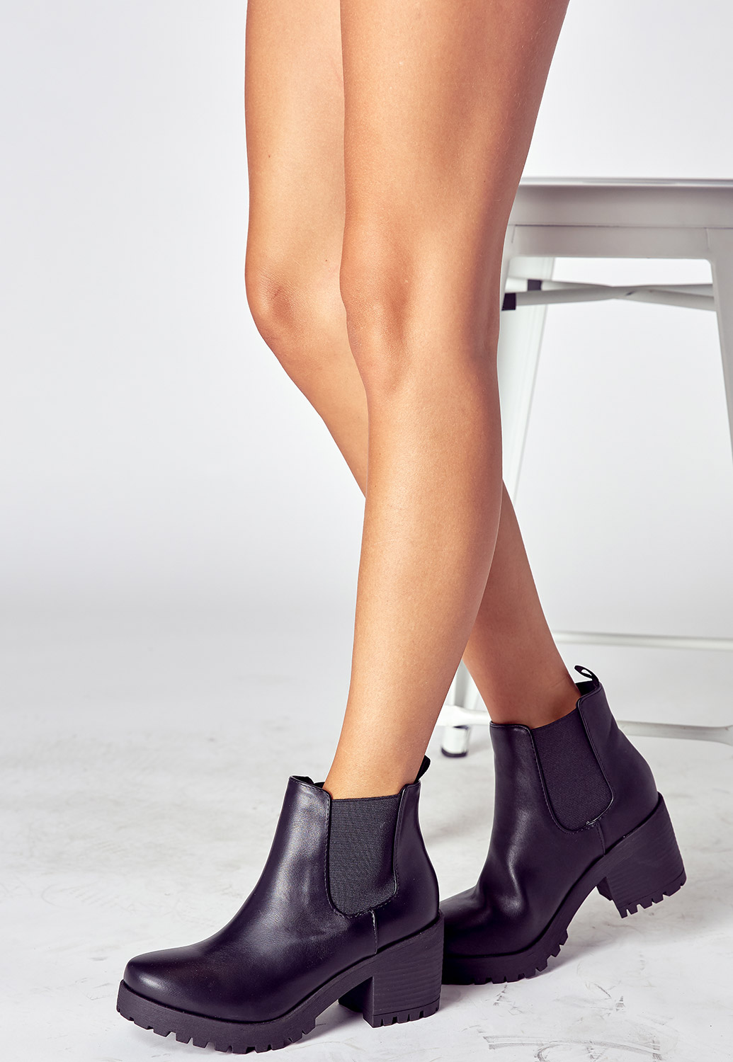 Faux Leather Platform Ankle Block Heel Boots