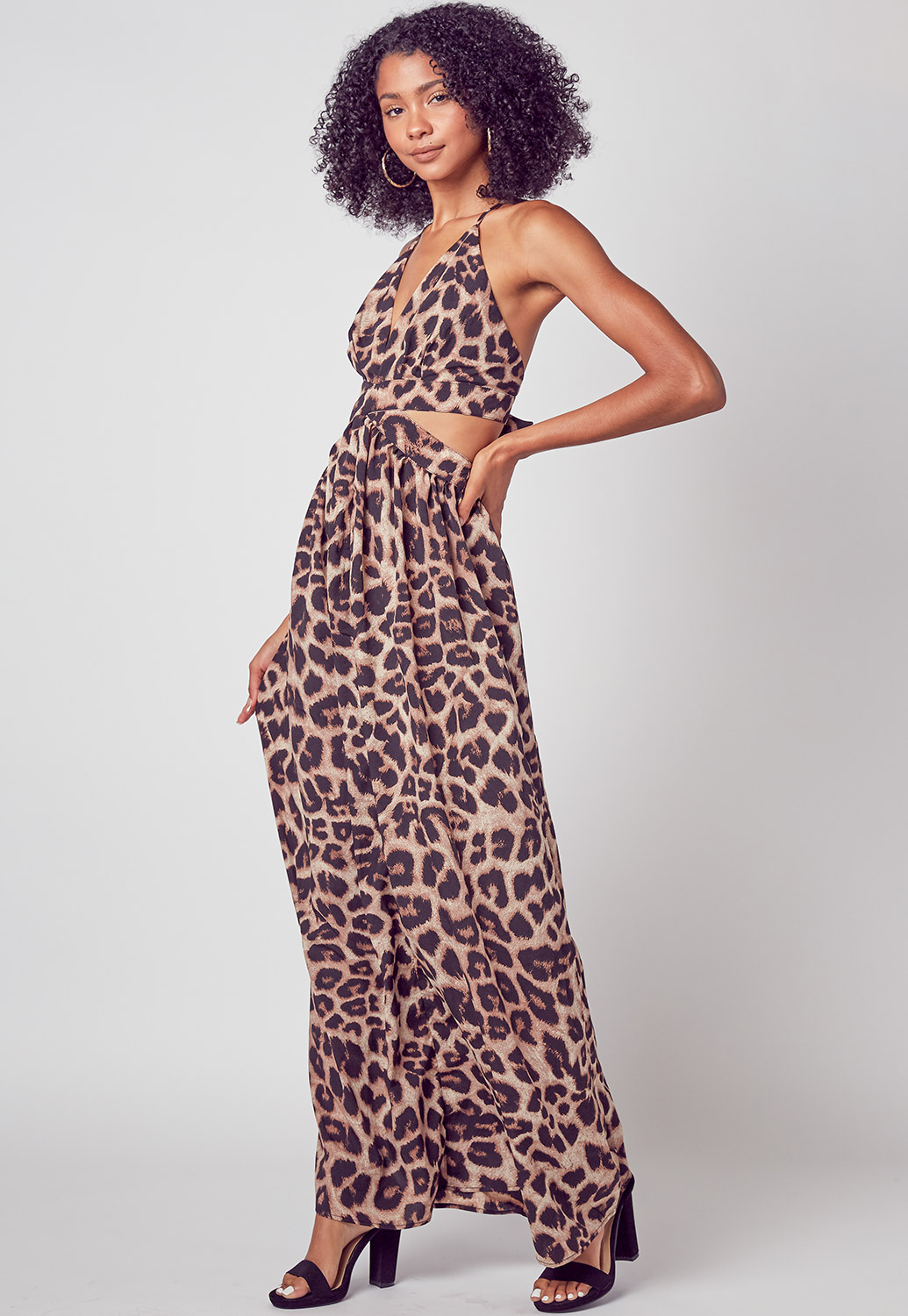 Deep V-Neck Leopard Printed Maxi Dress