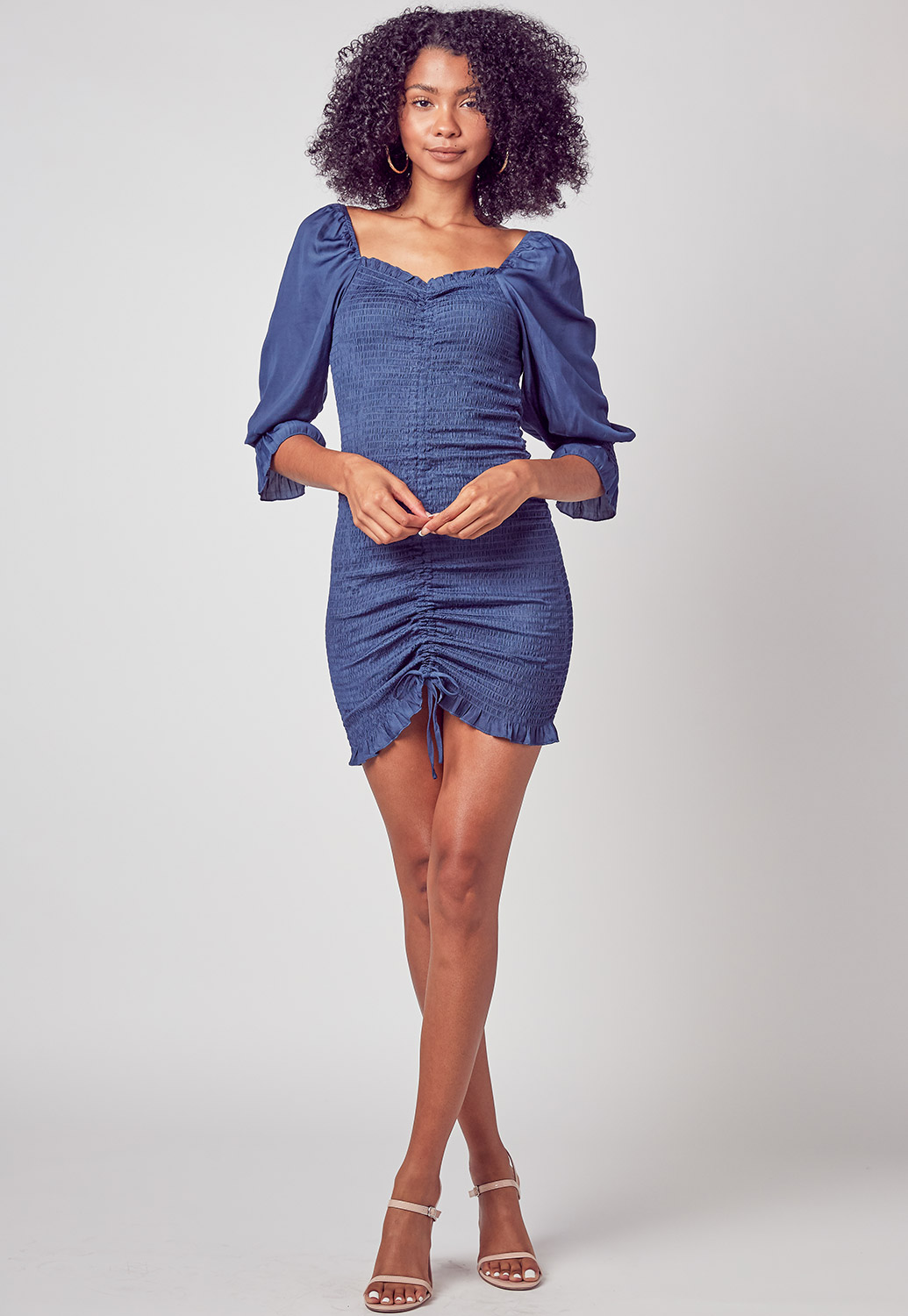 Front Ruched Ruffle Mini Bodycon Dress