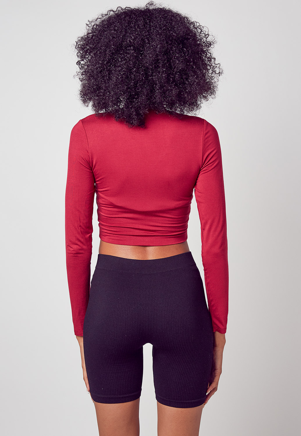 Sporty Long Sleeve Half Zip Up Crop Top