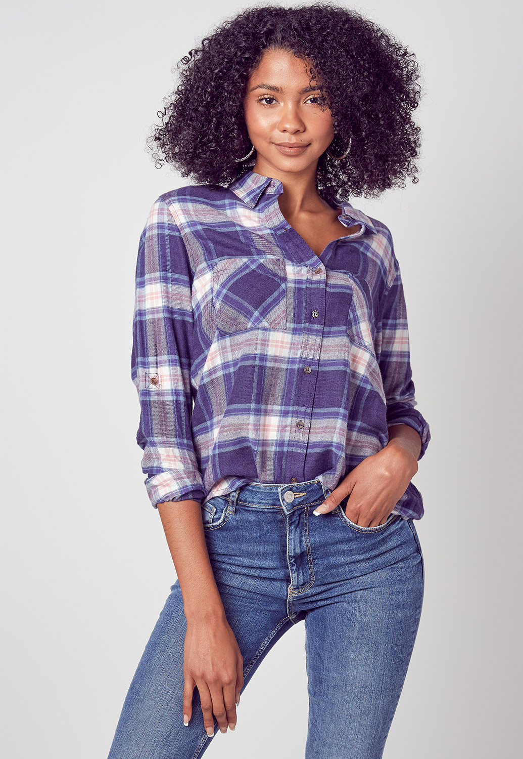 Collared Pocket Front Plaid Shirt Blouse