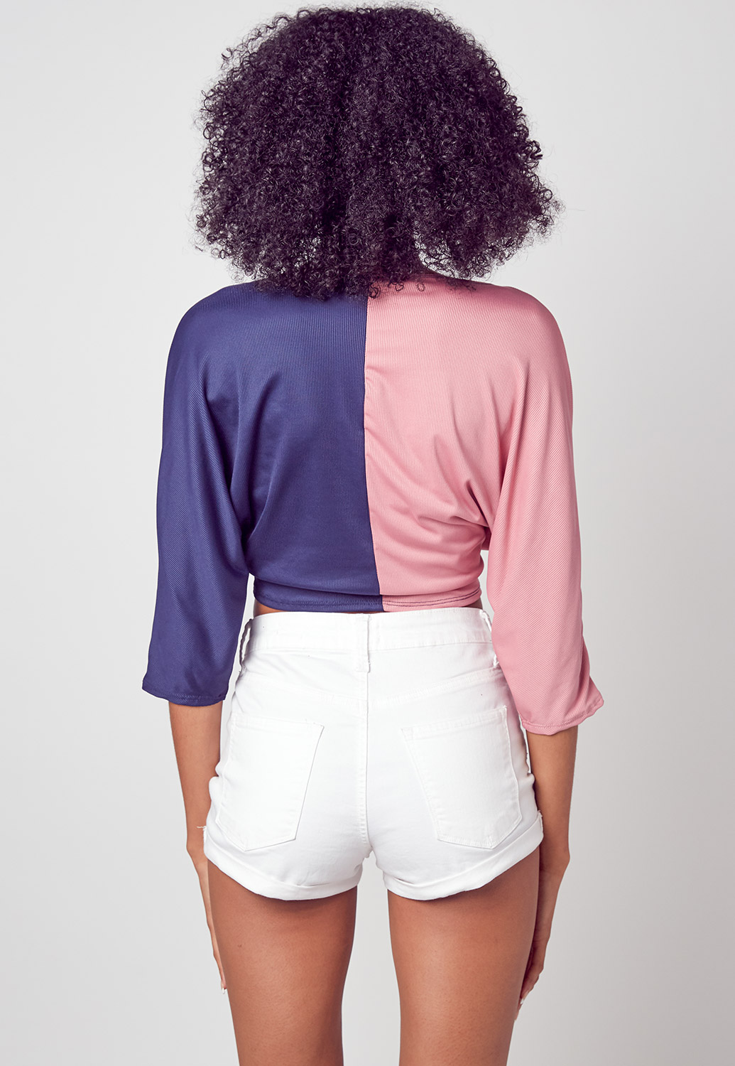 Color Block Front Tie Graphic Crop Top