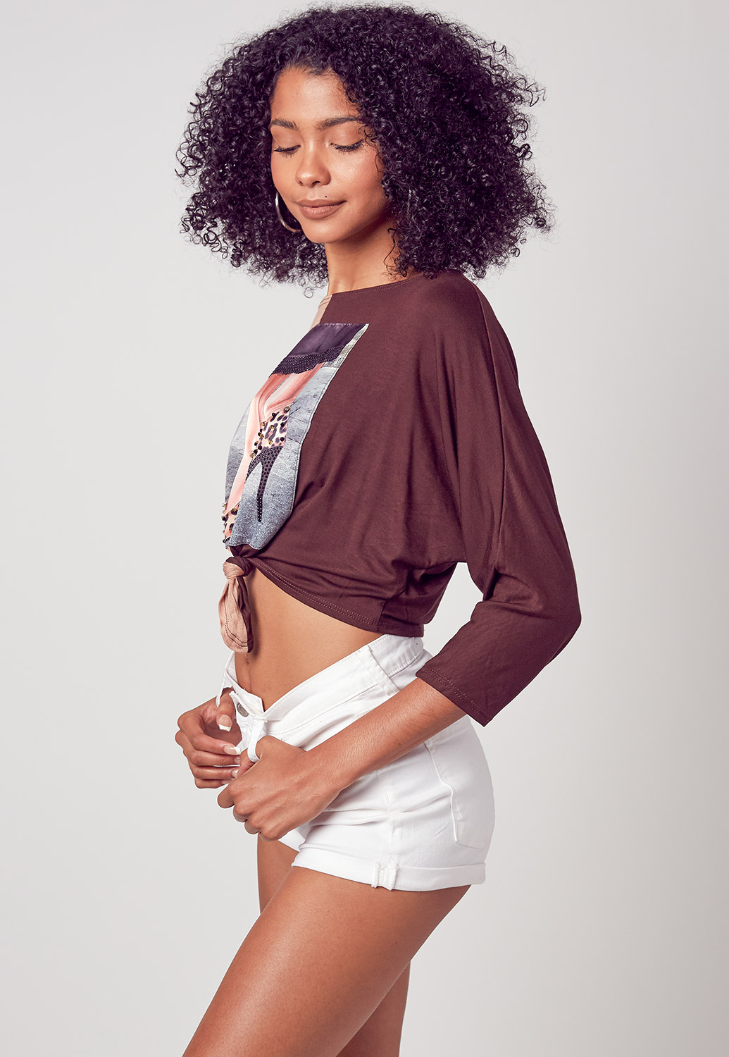 Front Tie Detailed Summer Graphic Crop Top